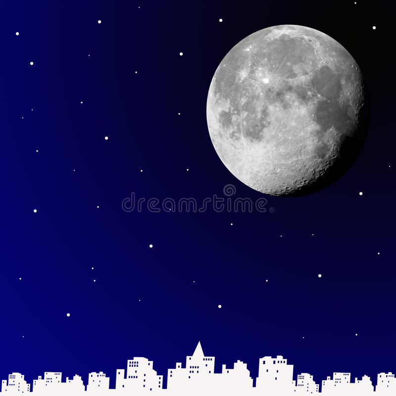 Download Moon city stock illustration. Image of clear, dark, glowing - 15604176