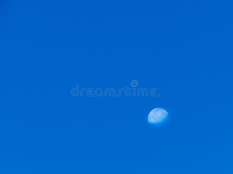 Moon on clear blue sky. Horizontal half moon on clear blue sky in the evining royalty free stock photography