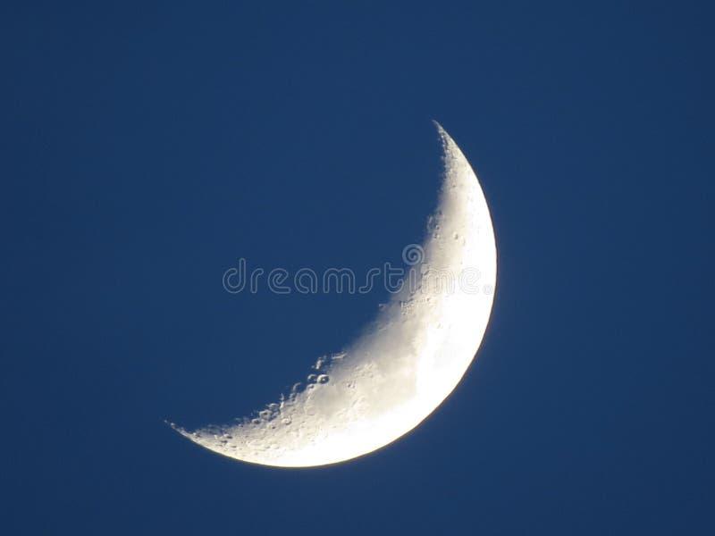 Moon closeup on dark blue sky. New moon stock image