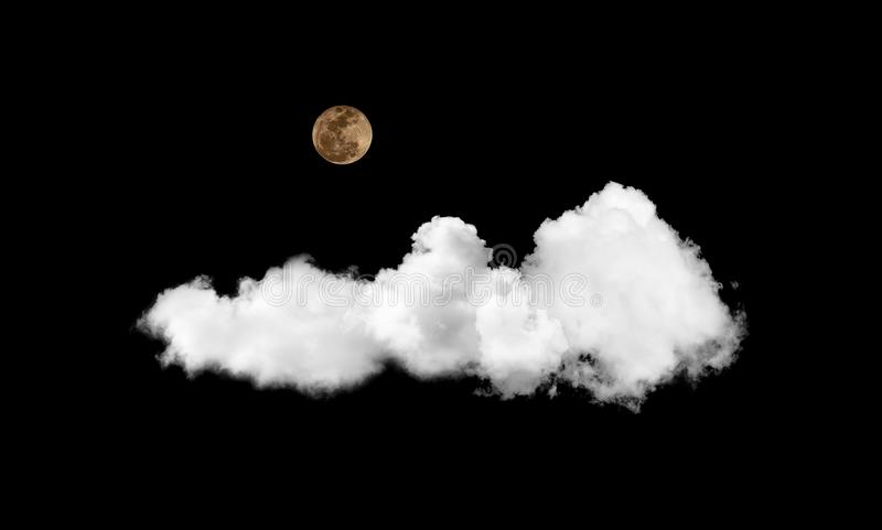 The moon and cloud on black sky stock photography