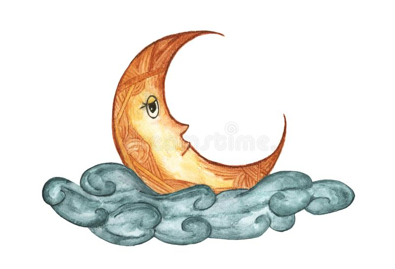 The moon in the cloud isolated on white background, night sky illustration, Hand Drawn watercolor. royalty free illustration