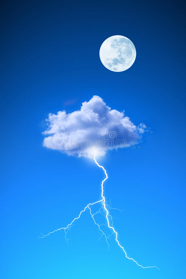 Moon Cloud Lightning Sky. A blue sky with one cloud and a lightening bolt flashing out stock photos