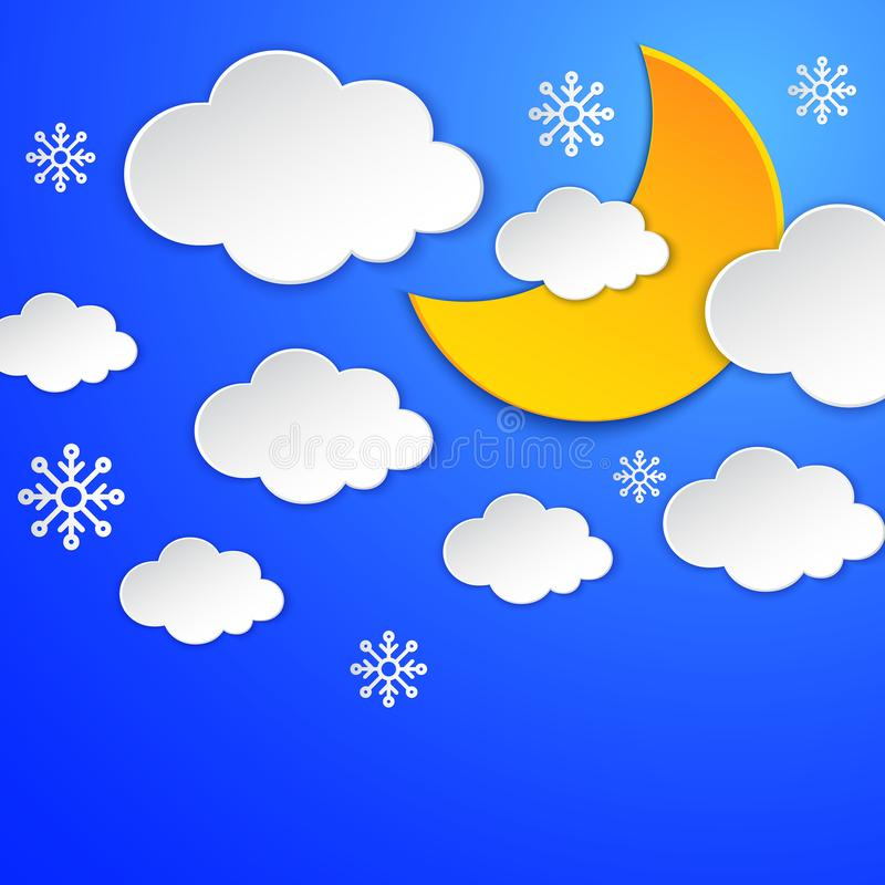Moon, cloud, snowflake on the night sky card. Snow, winter seasonal. Paper cut layers. Overcast scene. Cloudy nightly vector illustration