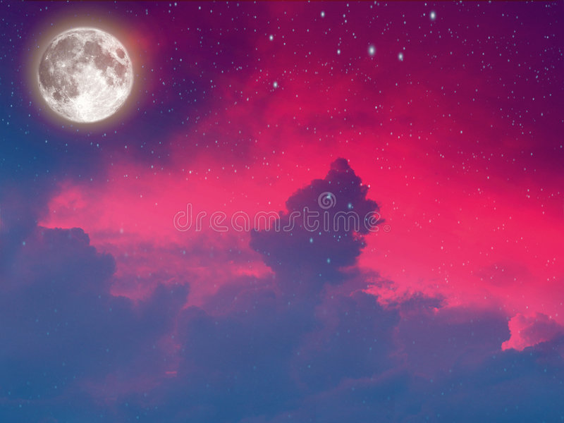 Moon in the clouds stock illustration