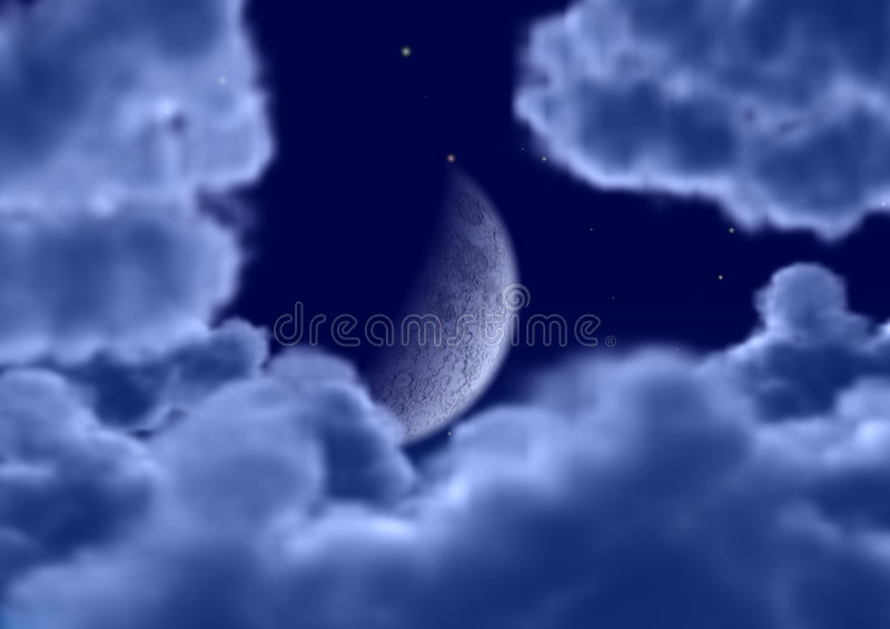 The Moon In Clouds Stock Photo