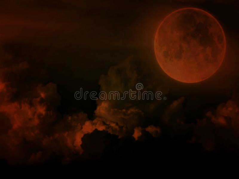 The moon with clouds on dark blurred  background. Moon clouds dark background halloween galaxy astrology astronomy science big outdoor night blurred creative royalty free illustration