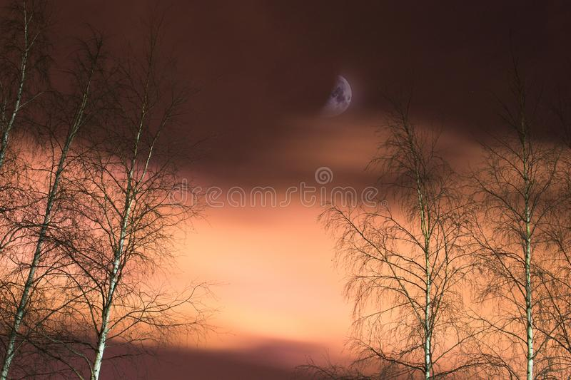 Moon and clouds stock photography