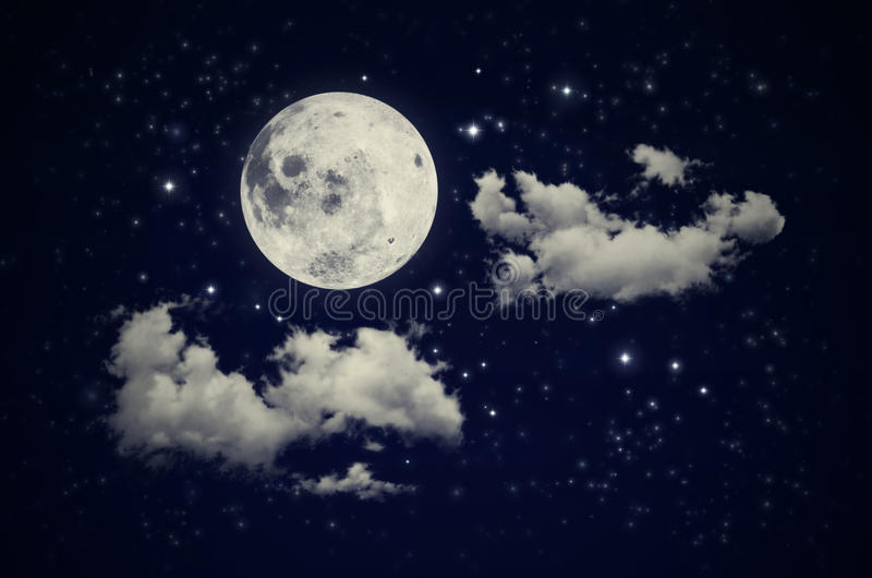 Moon, clouds and stars. Blue night background with moon, clouds and stars stock photos