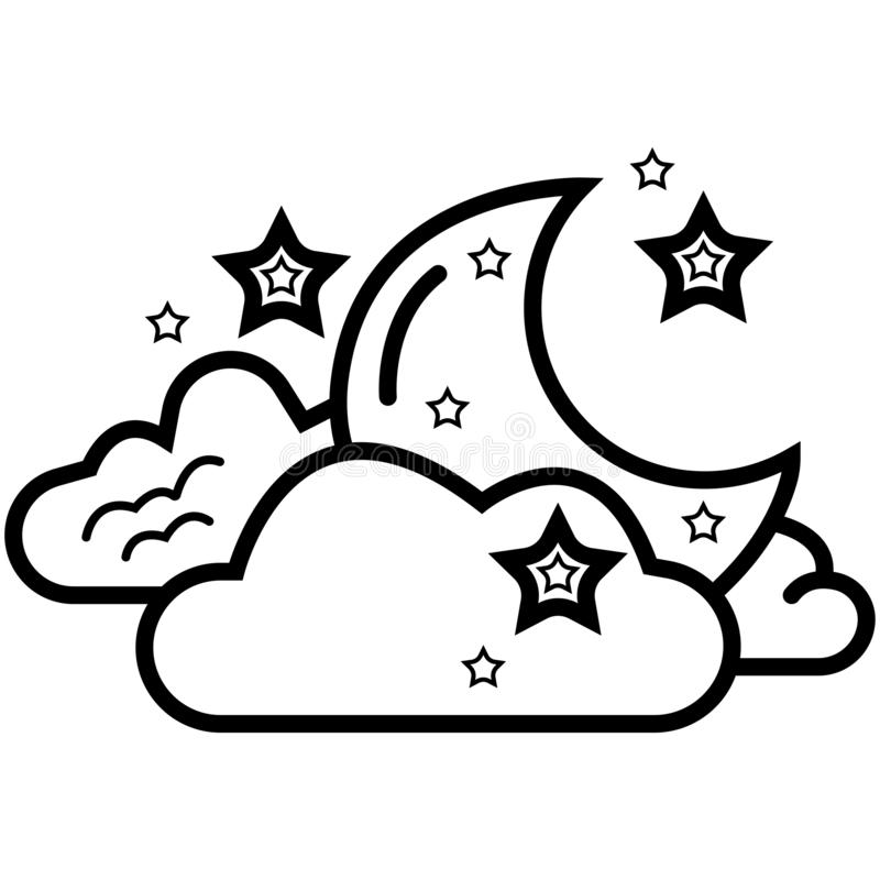 Moon, clouds and stars icon stock illustration