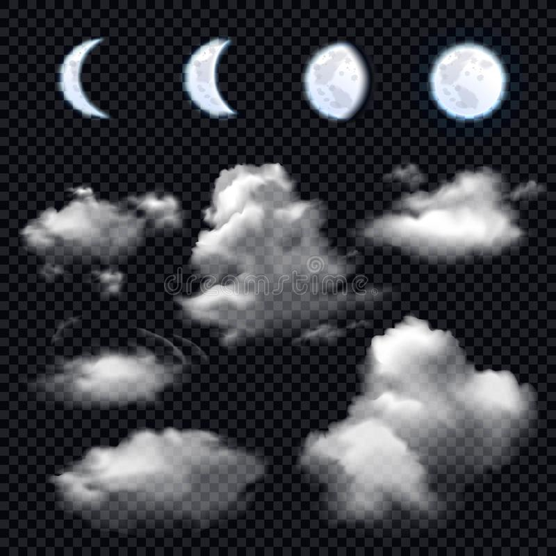 Moon And Clouds On Transparent Background royalty free illustration