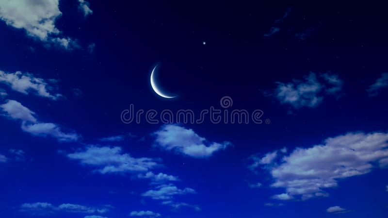 Moon and Cloudscape . Full moon and cloudy sky royalty free stock photography