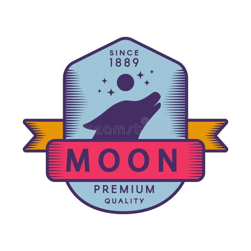 Moon color retro logo template royalty free illustration
