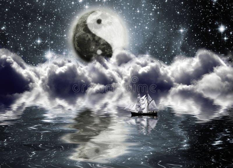 Moon com um sinal do yin e do yang ilustração stock