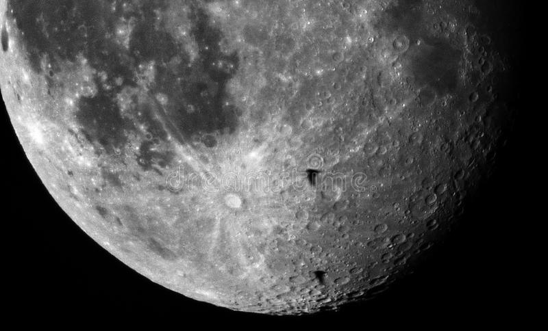 Moon crater details and birds observing. Moon craters and details observing over small telescope refractor, 18 moon day royalty free stock photography