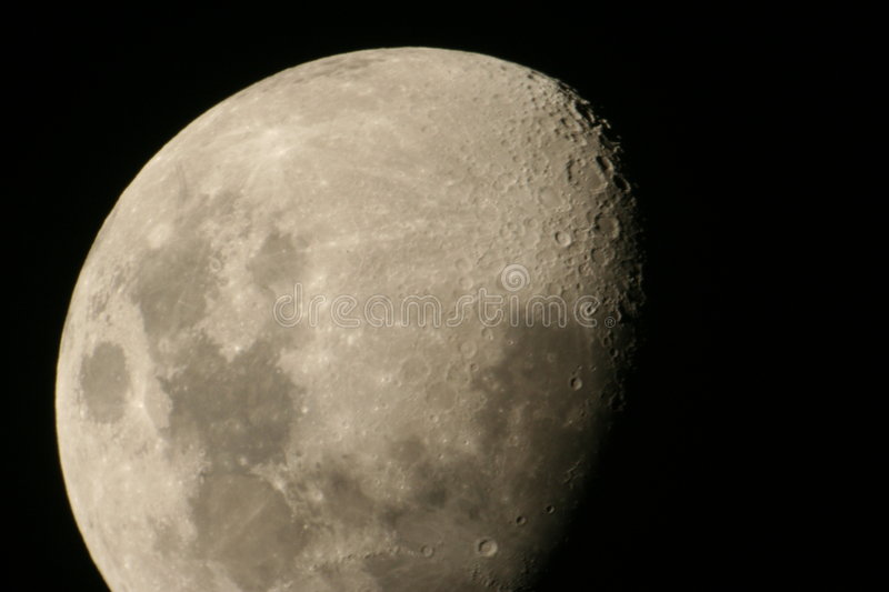 Moon Craters. Three Quarter moon, closeup, with craters royalty free stock photos