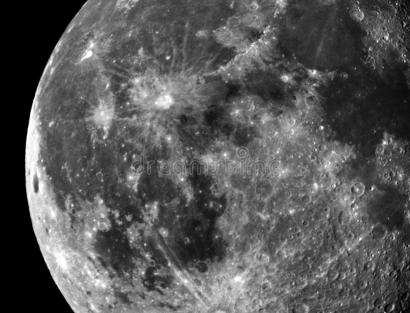 Moon crater and details observing. Moon craters and details observing over small telescope refractor, 18 moon day royalty free stock photos