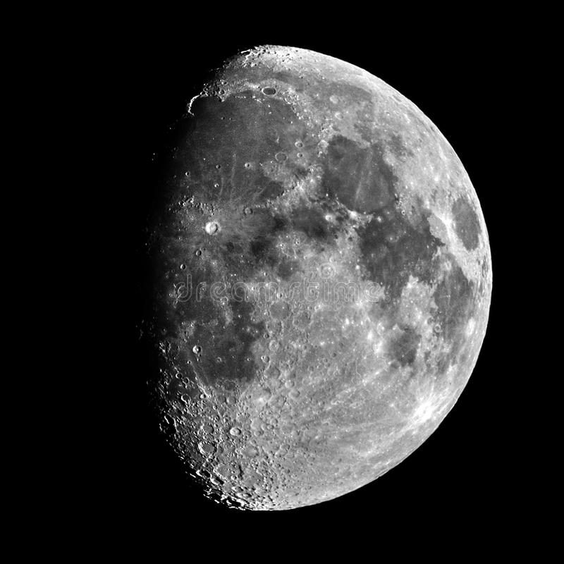 Moon details and craters night sky observing royalty free stock images
