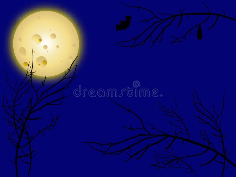 Moon And Creepy Tree Branches Stock Photo