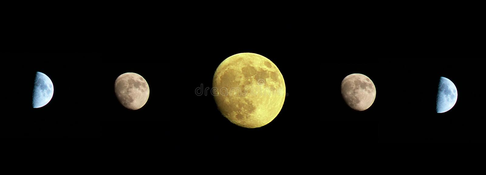 Moon on the dark sky. In various stages stock images
