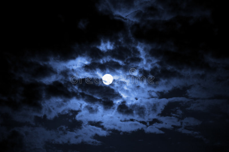 Download Moon in darkness stock photo. Image of blue, black, clouds - 6338206