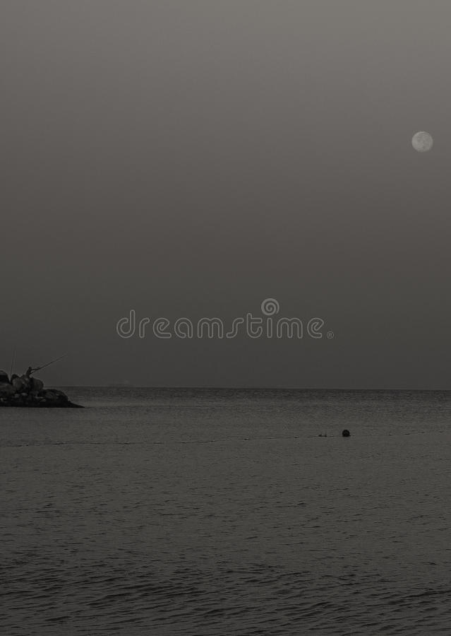 Moon At Dawn II stock photo