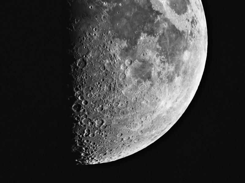 Moon details night sky observing over telescope stock images
