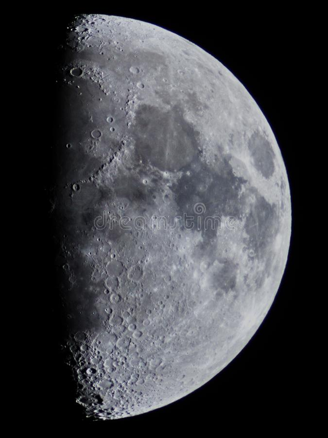 Moon details and craters observing stock images