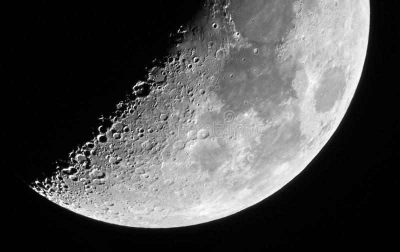 Moon details in eighth moon day lunar X and lunar V ojects stock photos