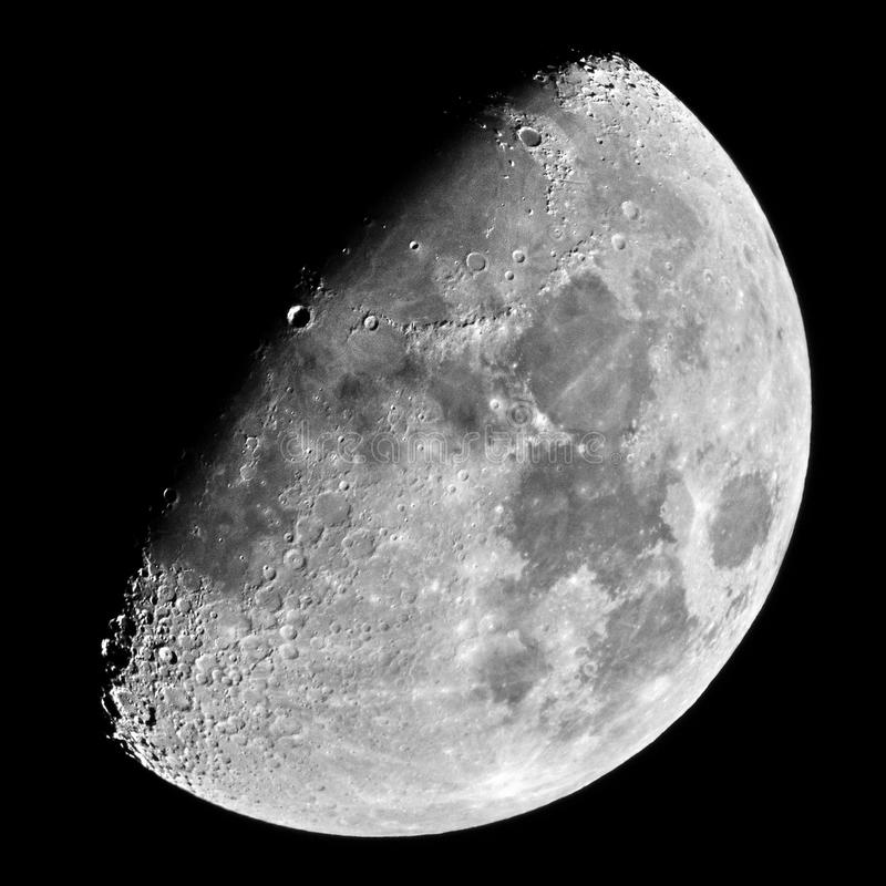 Moon details in tenth moon day royalty free stock photo