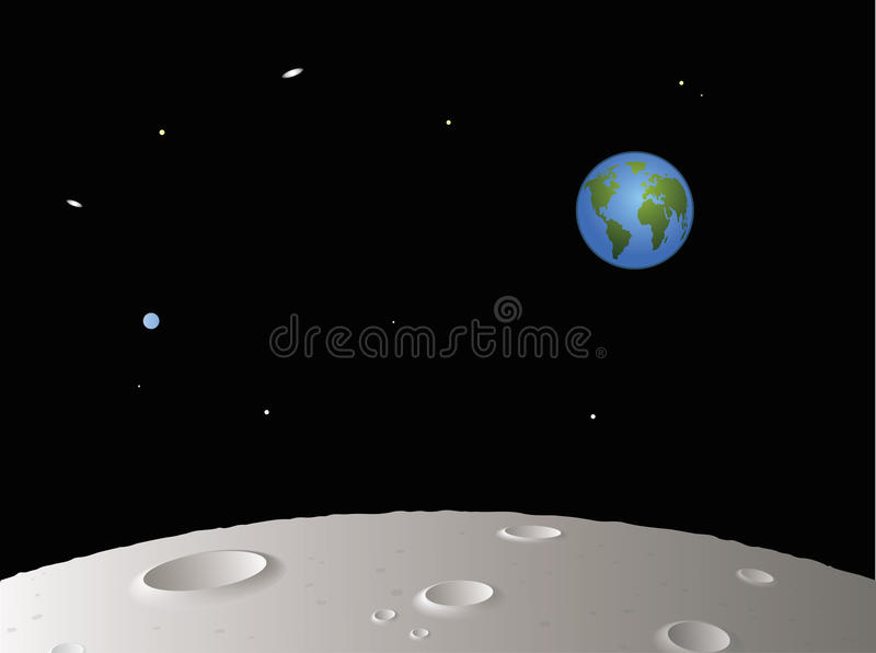 Download Moon with Distant Earth stock illustration. Illustration of travel - 13457901