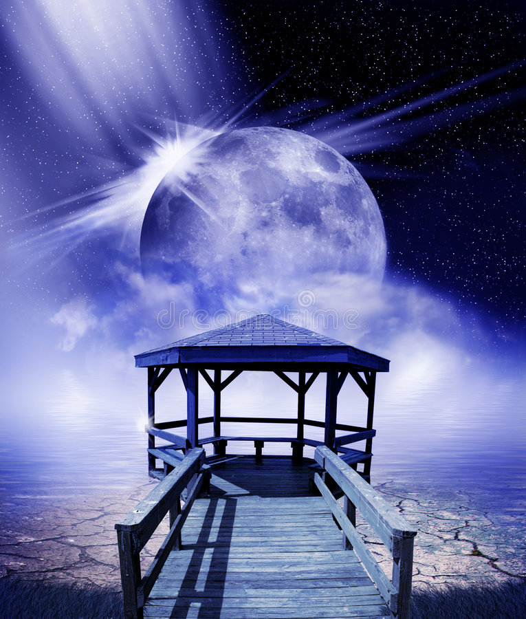 Download Moon and dock stock illustration. Image of moon, mists - 8509000