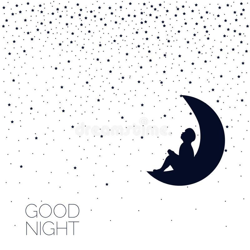 Moon and stars background. Good night. royalty free illustration
