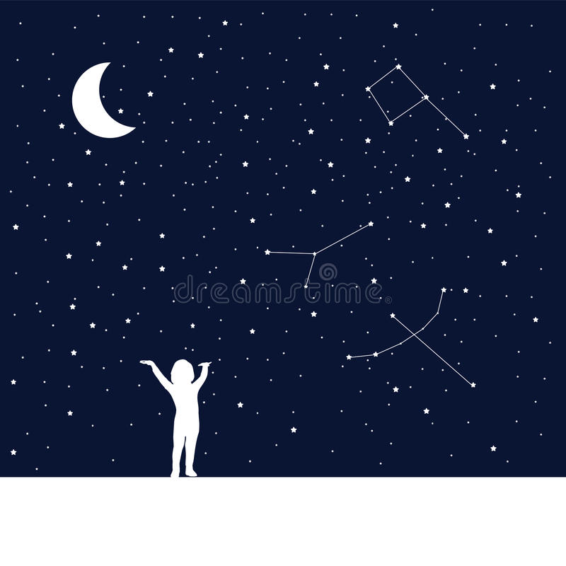 Moon and dreaming baby. Concept idea. vector illustration