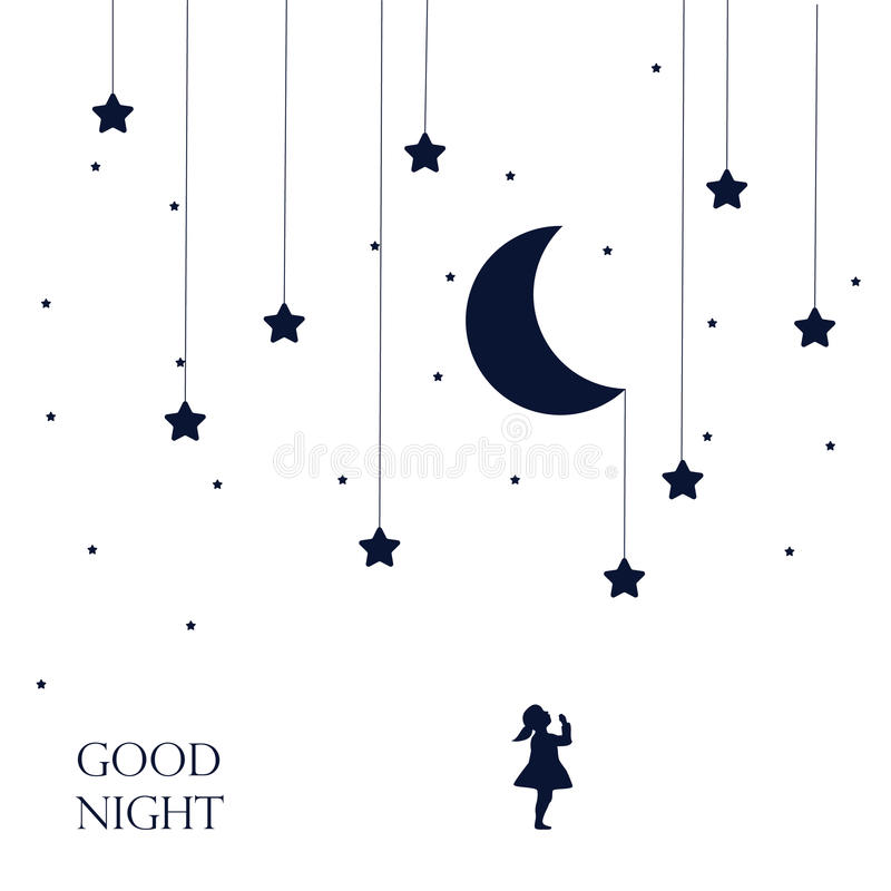 Moon and dreaming baby girl . Concept idea. Good night . stock illustration