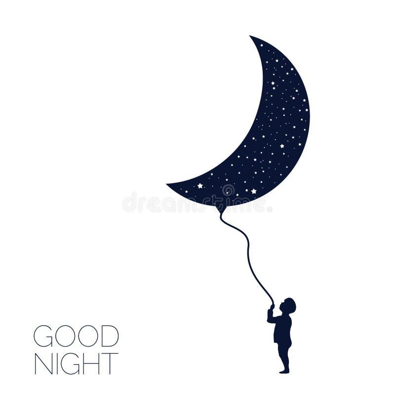 Moon and dreaming baby. Good night. Vector Illustration eps8 vector illustration
