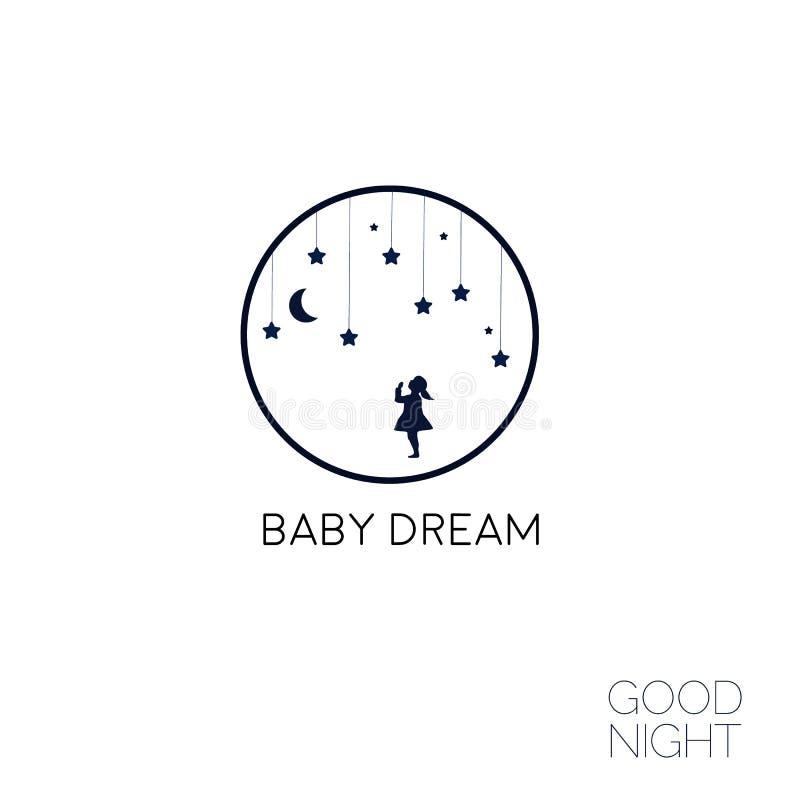 Moon and dreaming baby logo. Good night. Vector Illustration eps8. Moon and dreaming baby. Concept idea. Good night . Place for your text. Vector illustration royalty free illustration