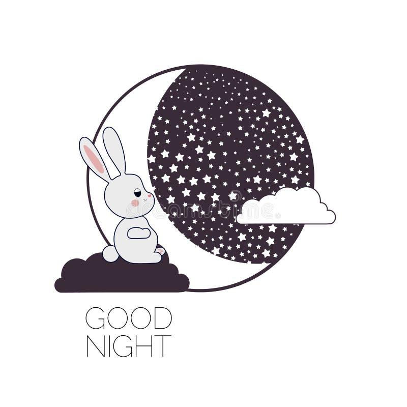 Moon and dreaming rabbit. stock illustration