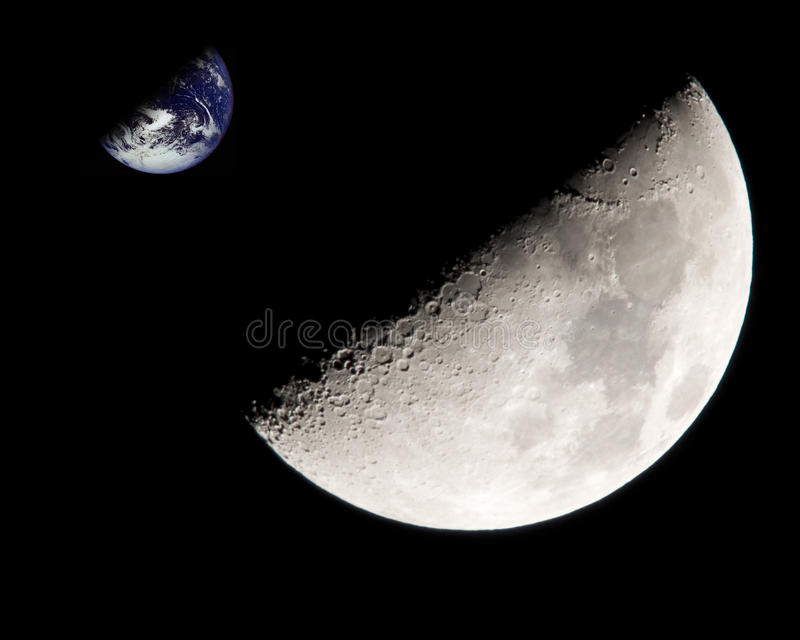 Moon and Earth. Composite image royalty free stock photography