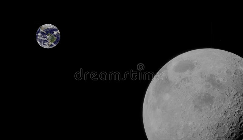 Moon and earth orbiting each other. Close up view of the moon orbiting the earth, a composite image some elements courtesy of nasa royalty free stock photography