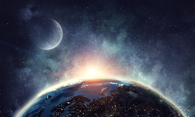 Moon and Earth planet royalty free stock photo