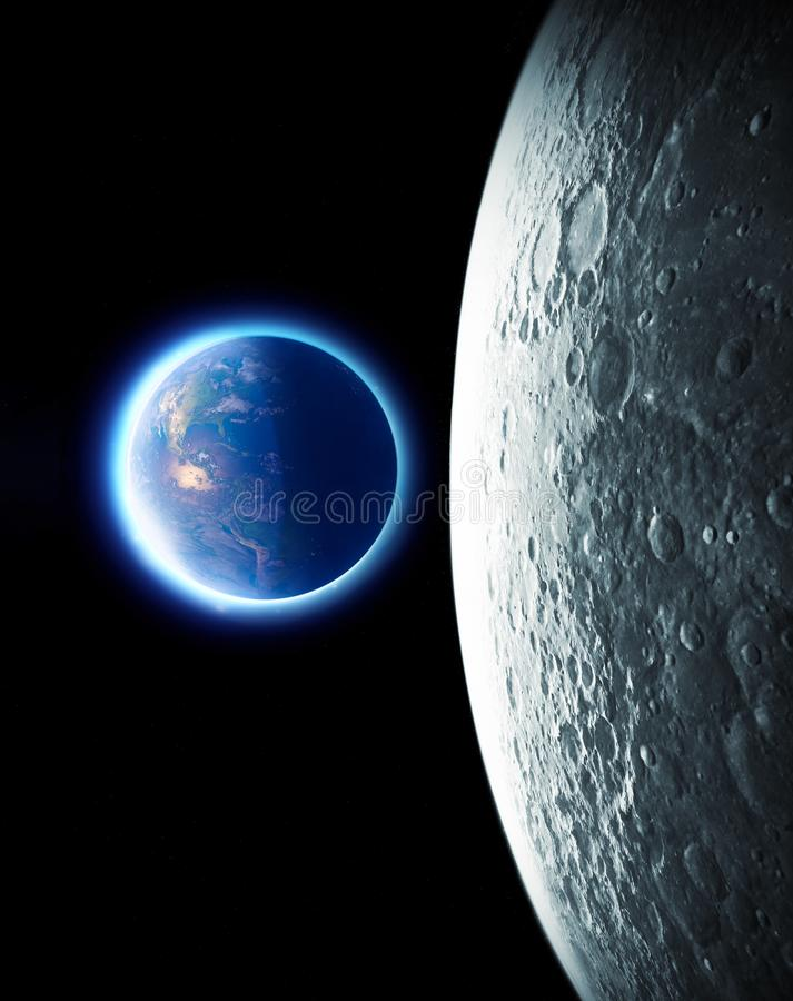 Moon and earth seen from space. Lunar surface and earth in the background. The earth seen from the moon. 50th anniversary. Of the lunar landing. Elements of stock images