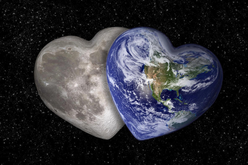 Moon and earth in the shape of a heart. Starry background royalty free stock images
