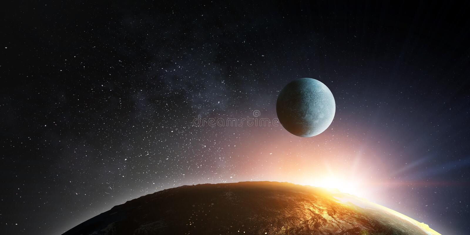 Moon and Earth with sun flash. Moon and Earth in dark starry space with sun flash royalty free stock photo