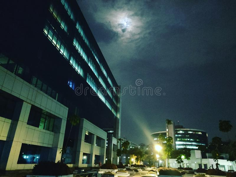Moon eclipse corporate world cloudy sky. Moon eclipse corporate world cloudy royalty free stock images