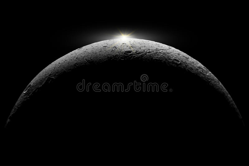 Moon .Elements of this illustration furnished by NASA. Moon reflects sun's.Elements of this illustration furnished by NASA royalty free illustration