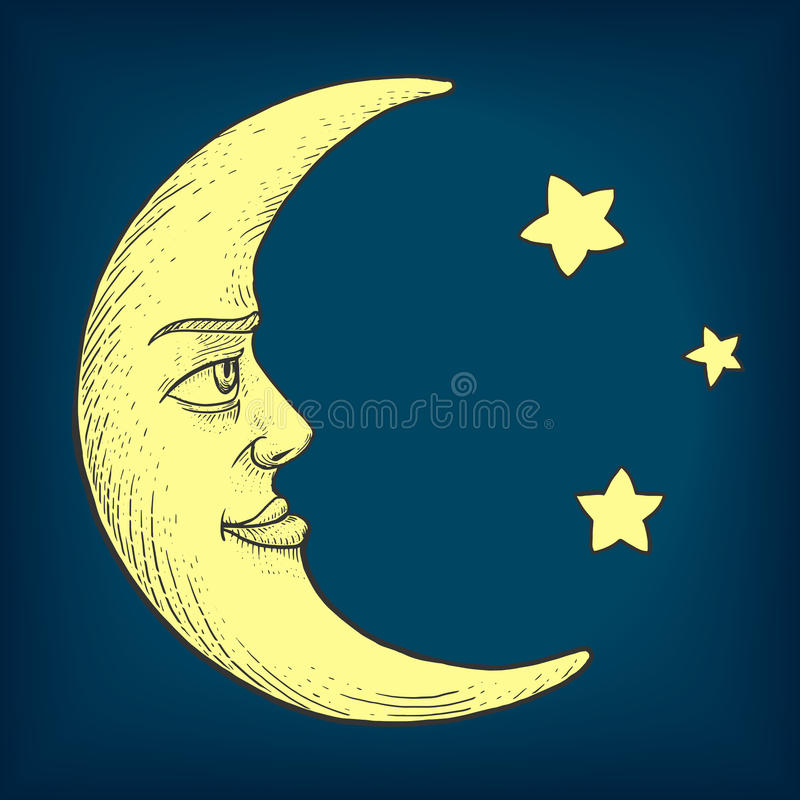 Moon with face engraving style vector illustration. Moon with face engraving colorful vector illustration. Scratch board style imitation. Hand drawn image stock illustration