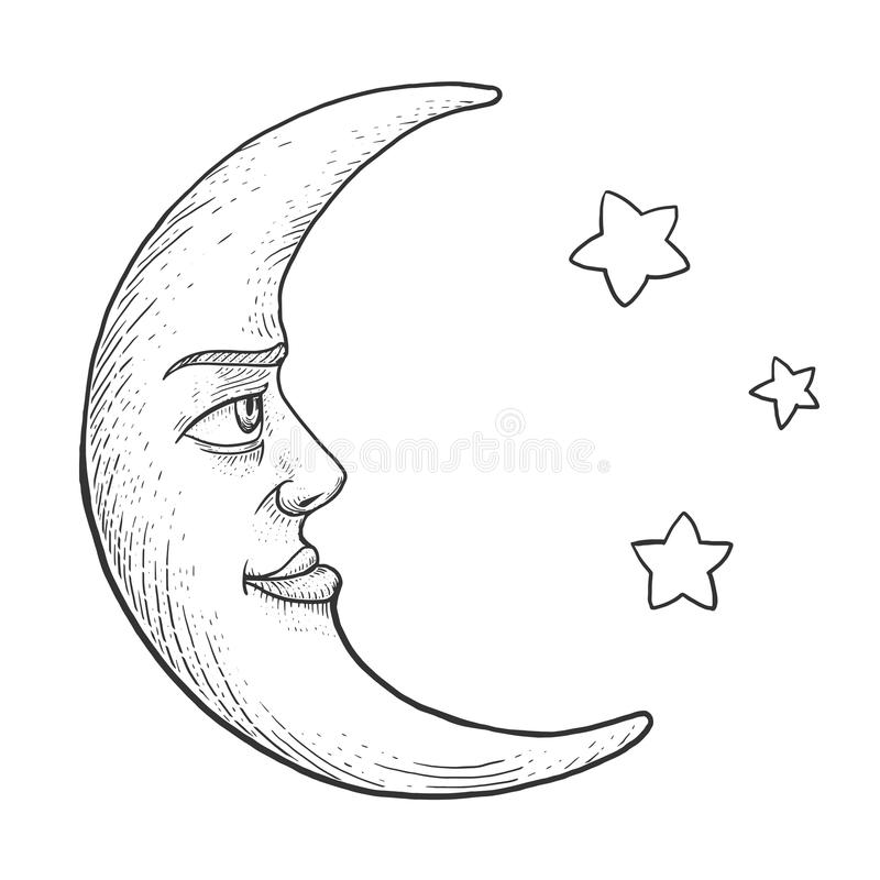 Download Moon With Face Engraving Style Vector Illustration Stock