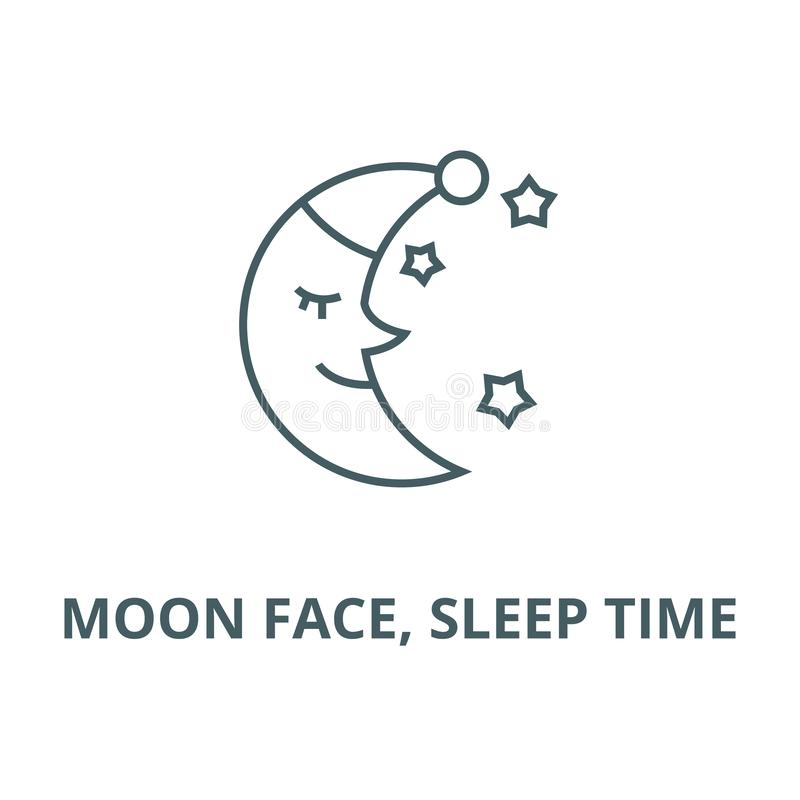 Moon face, sleep time vector line icon, linear concept, outline sign, symbol stock illustration