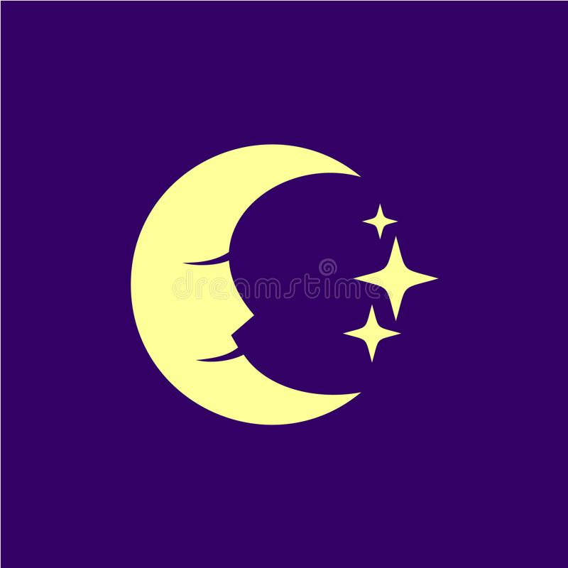 Moon face with stars and deep blue sky illustration. royalty free illustration