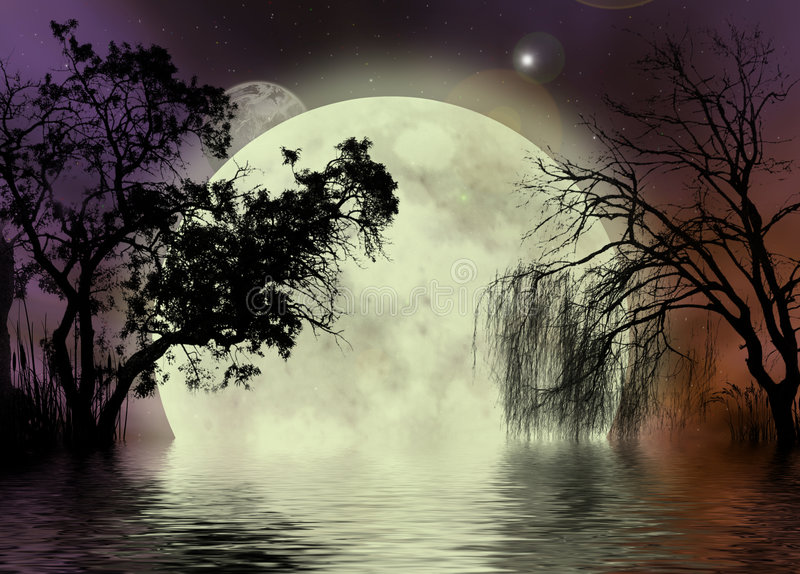 Moon fairy background. A fantasy background with the moon and trees, including a weeping willow, reflecting in thewater vector illustration